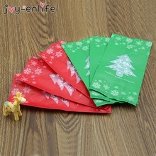 JOY-ENLIFE 50pcs Red/Green Merry Christmas Tree Kraft Paper Bag Buffet Bag Gift Bags Candy Bag Christmas Party Decor Supplies
