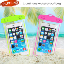 SRLEEKING 6 inch Luminous outdoor waterproof phone bags PVC material fashion touch mobile accessories for iphone 5s 6s 7plus 4s(China)