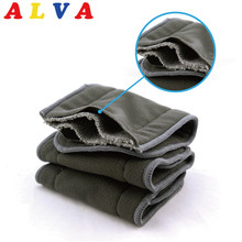 Alvababy High Absorbent Organic 4 Layers Charcoal Bamboo Insert 10pcs per lot