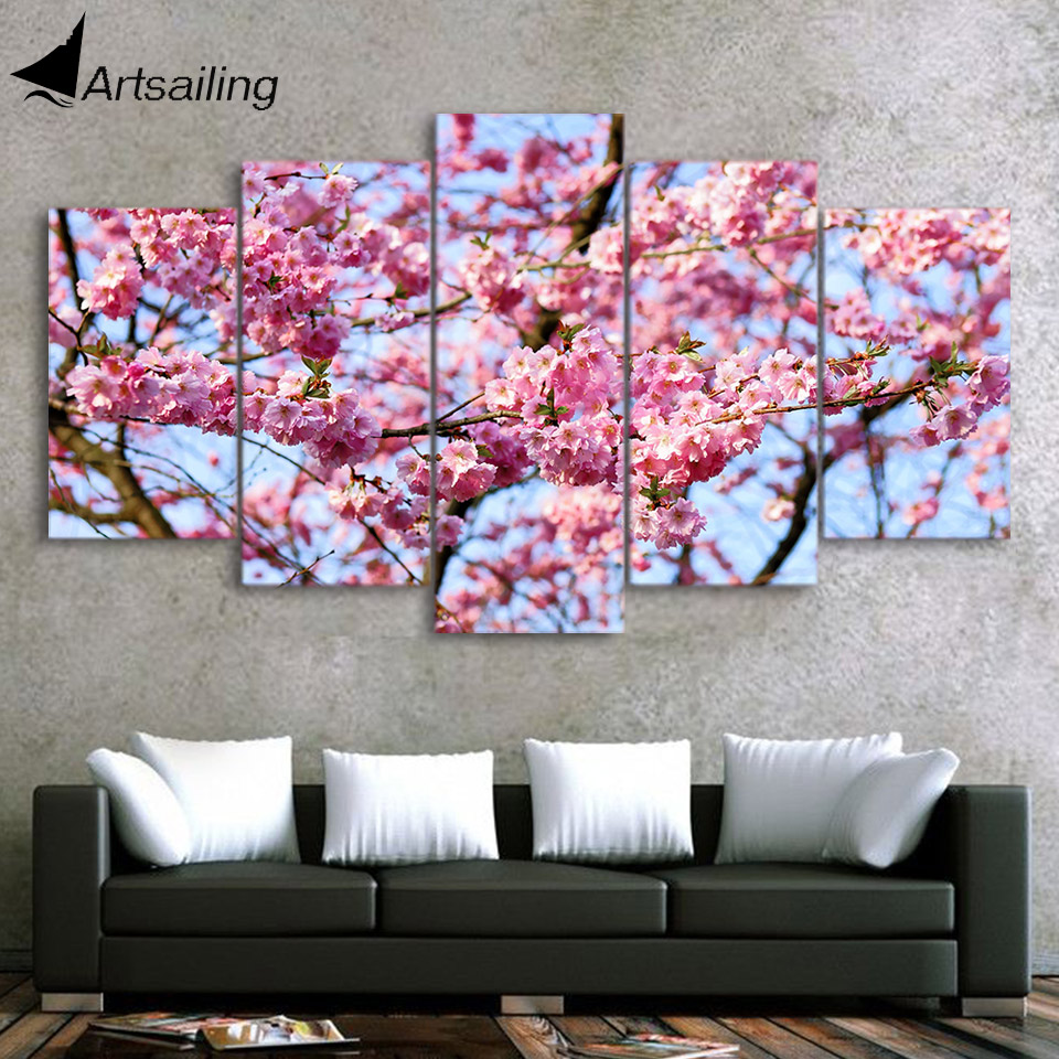 Beautiful Blossom Cherry Tree Picture Print ON Framed Canvas Wall Art Home
