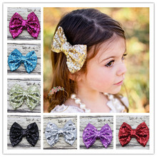 Foddsia 11pcs/lot Girl Large Glitter Messy Sequin Bow Hair Clips Embroidered Sequin Bows With Clip For Kids Hair Accessories A69