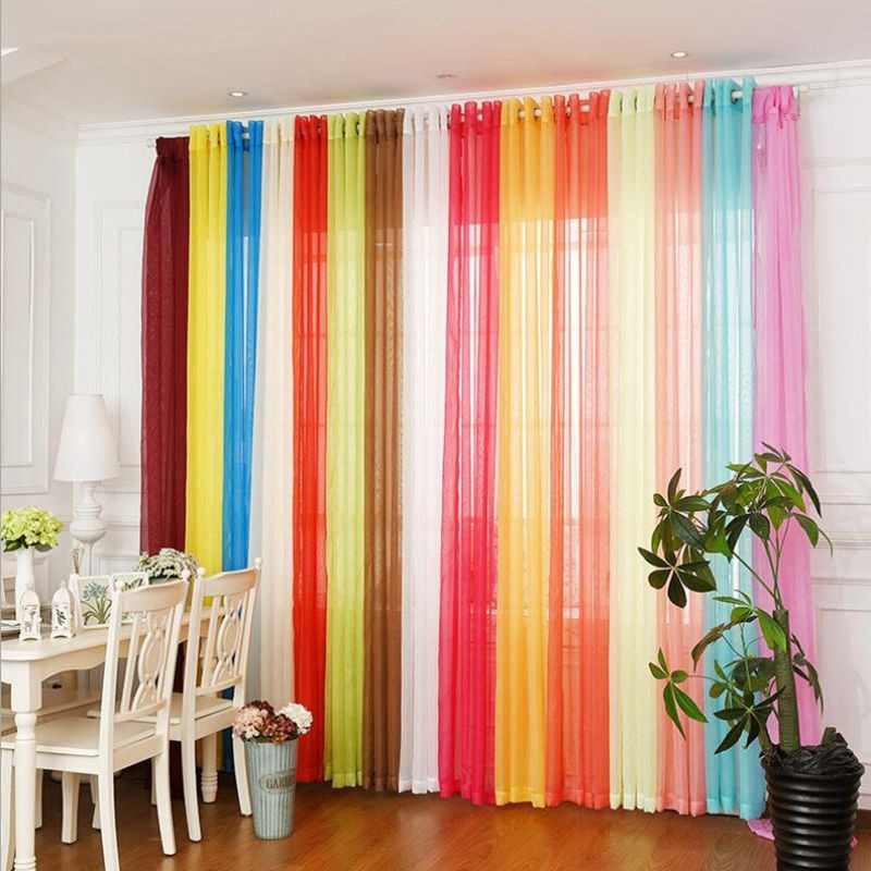 Rainbow Colors Solid Sheer Panels Door Window Curtains Drapes Voile Curtain For Home Decor Living Room Bedroom Kitchen AP184-20