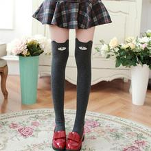 1 Pair of Women Lady Girls Favorite Cute 3D Cartoon Animal Cat Bear Face Thigh Stockings Funky Over Knee High Socks(China)