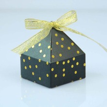 HAOCHU 20Pcs Candy Gift Box European Wedding Engagement Party Decoration Pyramid Ribbon Gilding Favors Box Supplies For Guest
