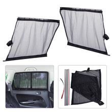 DWCX 2x Car Sun Shade UV Proof Side Window Mesh Fiber Curtain Visor Shield Protector Cover 51 x 39cm For VW Audi Mazda Hyundai(China)