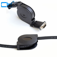 Free Shipping High Quality VGA SVGA RGB 15P Male to male retractable Reel M-M projectors Monitors Cable 5ft 150cm(China)