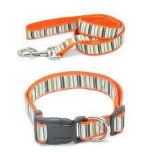 Fashion Pet Collar and Leash Dog Necklace Set of Collar Rainbow Style for Pet Dog Rope Nylon Collar and Leash Sets Pet Product