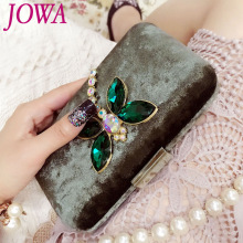 2017 New Design Vintage Dragonfly Mini Handbag Women's Fashion Evening Bags Night Purse Diamonds Chains Shoulder Package 2 Color