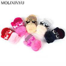 Christmas Deer Baby Winter Gloves For Baby Mitten Cartoon Knit Velvet Warm Christmas Gift Child Gloves Kid Mitten Free Shipping