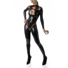 Buy Latex Girl's Sexy Catsuit Open Bottom Backed Zipped Latex Rubber Bodysuit Sexy outfit Open Hip