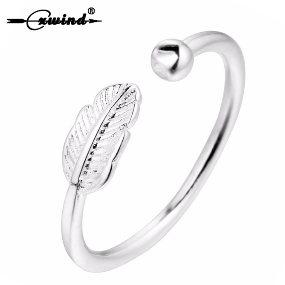 Cxwind Unique Design Adjustable Feathers Leaf Bead Rings for Women Girl Party Graceful Finger Silvery Ring Statement Jewelry