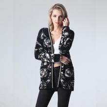 Hand Knitted Cardigan Women Print Long Sleeve Pockets Loose Cardigans Sweater Gilet Femme Manche Longue Spring/Autumn/Winter