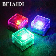 BEIAIDI 3pcs Solar Garden Buried Underground Brick Rock Lamp Waterproof IP68 Solar Glass Brick Buried Lights Pathway Deck Lights