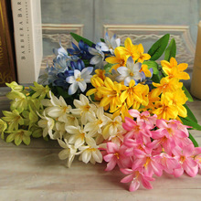 High Quality Silk flower Artificial Mini Lily Flowers Home Wedding Bouquet Decoration flores(China)