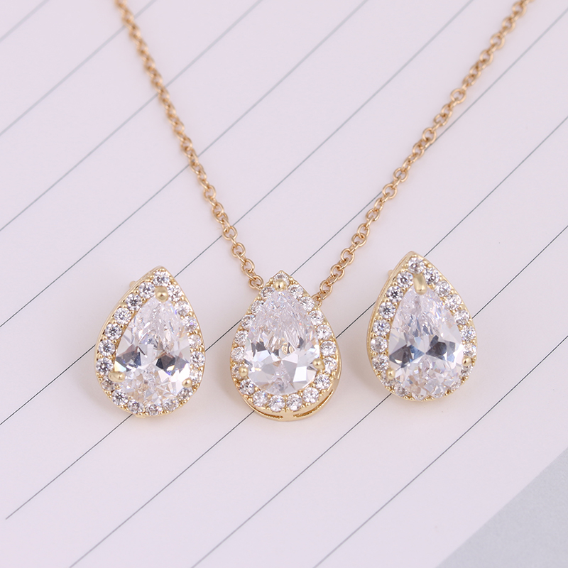 Nigerian Water Drop Cubic Zirconia Wedding Jewelry Sets inlay Luxury Crystal Bridal Jewelry Set Gifts For Bridesmaids AS099 8