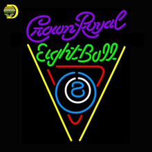 Crown Royal Eightball Billiards Pool Neon Sign Game room Neon Bulbs Sign Real Glass Tube Handcrafted Decorate signs commercial(China)