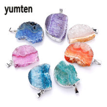 Yumten Crystal Pendant Natural Agate The Geode Clusters Buds Ribbon Moon Necklace Silver Plate Collana Colar Feminino Choker