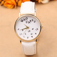 "Cheap Fashion Casual Women ""Who Cares"" Letter Leather Watch Analog Saat Quartz Wrist Watches Men Women Watch Relojes Mujer(China)"