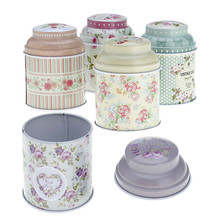 1Pc Floral Double Layer Seal Tea Caddy Candy Storage Tin Box Household Container Christmas Party Gifts