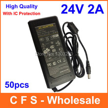 24V 2A AC DC Adapter Power Supply Charger 5.5mm Tip For LCD Monitor Printer 50pcs/Lot Fedex Free shipping wholesale