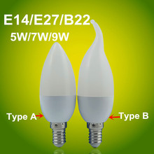 2017  Led Candle Light  E14/E27/B22 Tip/Tail  SMD2835  85-265V  High Brightness  3W 7W   led candle Cold White/Warm White