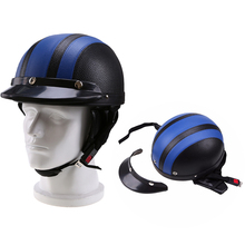 54-60cm Leather Retro Vintage Helmets Motorcycle Helmets Motocross Open Face Half Helmet Scooter for Security Capacete Off Road