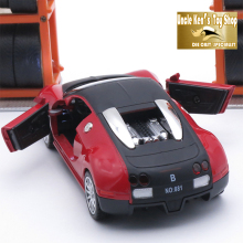 14Cm Length Diecast Bugatti Model Car Toys For Boys With Metal Material, Pull Back And Flashing Function