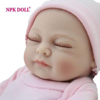 """Tiny reborn baby doll chica 10 """"pulgadas regalo de la muchacha de silicona llena de vinilo bebés toys realista rosa recién nacido mameluco"""