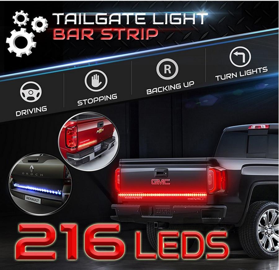 60inch Red/White Tailgate Light Strip Bar Waterproof 216 LEDs brightness for Reverse Running Brake Turn Signal for Pickup Truck <br>