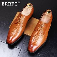 ERRFC British Men Dress Shoes Black Square Toe Crocodile Pattern Leather Shoes Man Lace Up Stylish Brown Wedding Shoes  38-44