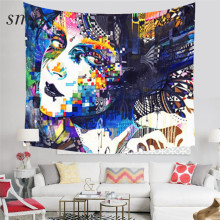 Smiry Graffiti Style Portrait Tapestry Polyester size 150x130 cm Beach Blanket Room Divider Yoga Beach fashion Tapestry