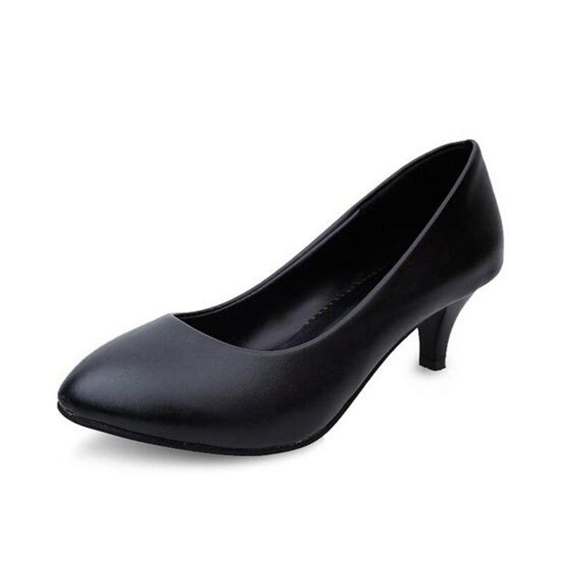 2017 Spring Autumn Women Casual Pumps OL Matte Scrub Nubuck Leather PU Shoes 7cm High Thin Heel Soft Black White Color .LSS-806<br><br>Aliexpress
