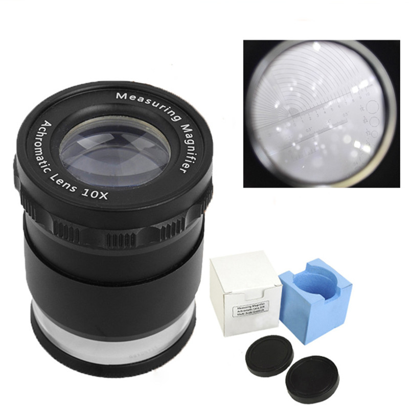 10X Metal LED Illuminated Focus Adjustable Cylindrical Loupe Measuring Magnifier Achromatic Lens with Multi Scale Graticule<br>