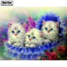 5D DIY Diamond mosaic diamond embroidery Three gray cats mbroidered Cross Stitch Home decoration Gift
