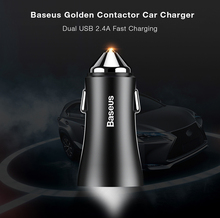 Original Baseus Golden Contactor 2.4A Dual USB Port Smart Car Charger for Most Mainstream Vehicle Models/ Smartphones/ Tablets