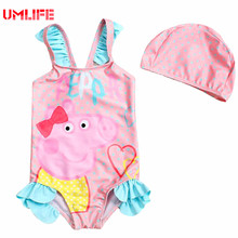 Baby Swimwear For Girls 0-14 Years Old Kids Swimsuit With Swim Cap Children's Pink Pig Bathing Suit Toddler Girl Swimsuits(China)