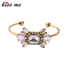 KISS ME Iron Alloy Vintage Cuff Bracelet Brand Jewelry Women Accessories Open Transparent Bangle