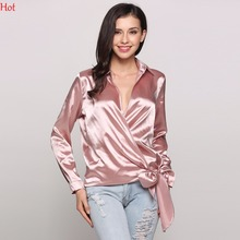 Turn Down V-Neck Sexy Blouses Wrap Bowknot Shirts Ladies Clothing Elegant Party Long Sleeve Solid Satin Blouse Tops SVH032678