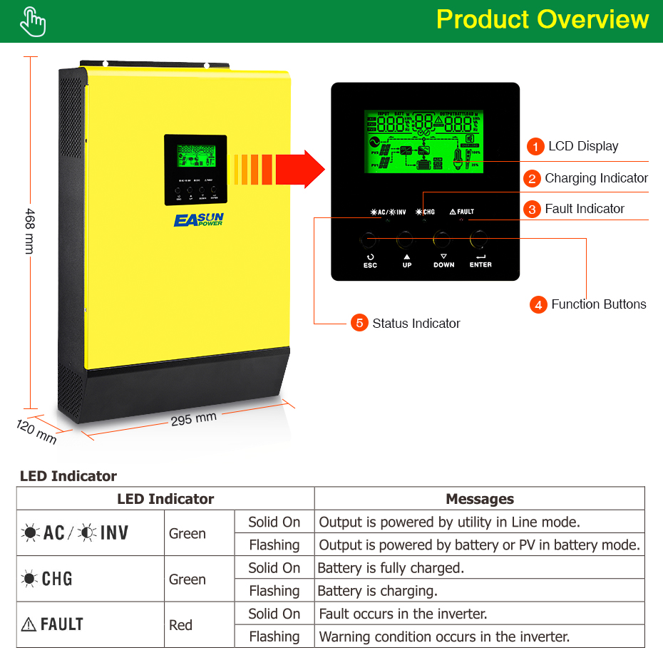 EASUN POWER Hybrid Solar inverter 3000W 48V 220V High PV Input 450Vdc MPPT Solar Charger 60A Power Inverter Grid Tied Inverter05