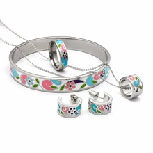 Enamel Jewelry Stainless Steel Dubai Jewelry Set Esmaltes Jewellery Newest Bridal Earrings Necklace Ring Bangles Fashion Gifts(China)