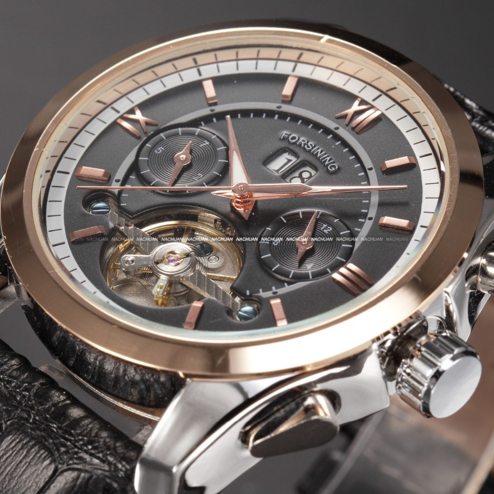 Forsining Tourbillon Designer Month Day Date Display Men Watch Luxury Brand Automatic Men Big Face Watches Gold Watch Men Clock<br>