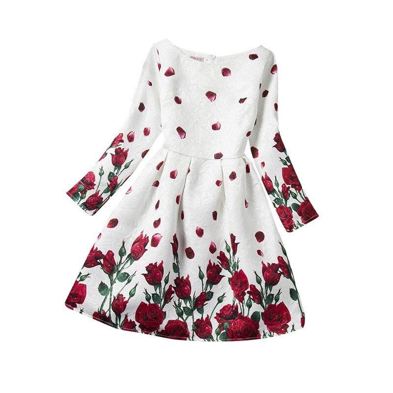 Long Sleeve Autumn Kids Clothes Rose Floral Children Dresses Costumes Princess Dress Girl Vestidos High Quality<br><br>Aliexpress