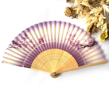 Free Shipping 1pcs Silk Cherry Blossom Hand Fan Folding Fan Pocket Fan Bamboo Crafts Home Decor Party Favor Gifts For Women(China)