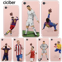 Phone Case Messi Neymar Cristiano Ronaldo Barcelona Football Jersey for iphone 7 6S 6 8 PLUS 5S 5 SE X 10 Transparent Silicone(China)