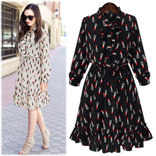 2016 Spring Summer New Elegant Fashion Style Lipstick Printing Long-sleeved Chiffon Dress AXD1502 - Luxury Divas onlinesale Store store