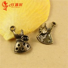 19*11MM Antique Bronze Retro flower girl dress charm pendant beads, mobile phone accessories manufacturers, metal garment charms(China)