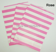 50 Pcs/2 Pack Rose Horizontal Stripes Treat Craft Bags Favor Food Paper Bags Party Wedding Birthday Decoration Color 3