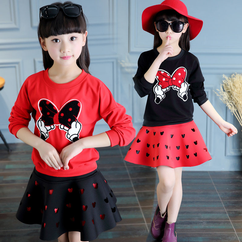 2017 New Baby Girl Sets Girls Minnie Mouse Clothing Set Hollow T shirts + Skirt Children 2pcs Suit Retail<br><br>Aliexpress