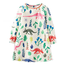 Baby Girls Dresses Long Sleeve 2017 Brand Autumn Children Christmas Dress Kids Clothes Printed Jersey Princess Dress with Pocket(China)