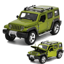Free shipping Die-cast 1:32 Jeep Wrangler Pull Back Acousto-optic Metal Cars Toys Classic Alloy Antique Car Model Wholesale(China)